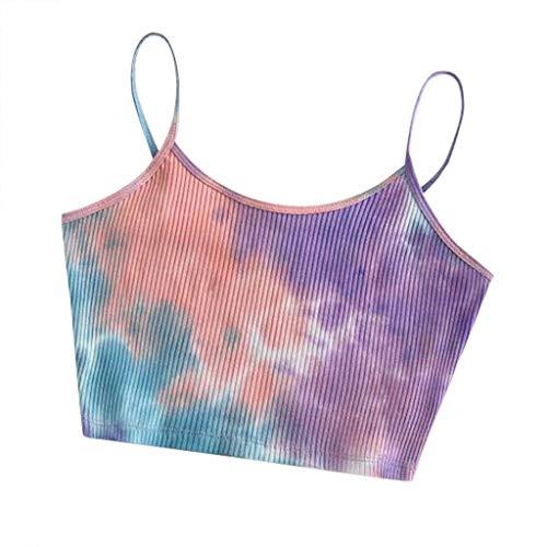 TUDUZ T-Shirt Damen Sommer Damen Schulterfrei Camis Ring Crop Top Leibchen Bluse Frauen Boho Tank-Bustier BH Neckholder Bralette Cami Tops (S, X1-Pink)