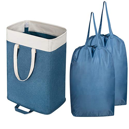 Lifewit Laundry Basket Large Collapsible Clothes Hamper with 2 Removable Laundry Bags Built in Lining with Detachable Brackets Toys and Clothing Organization Storage Basket Blue