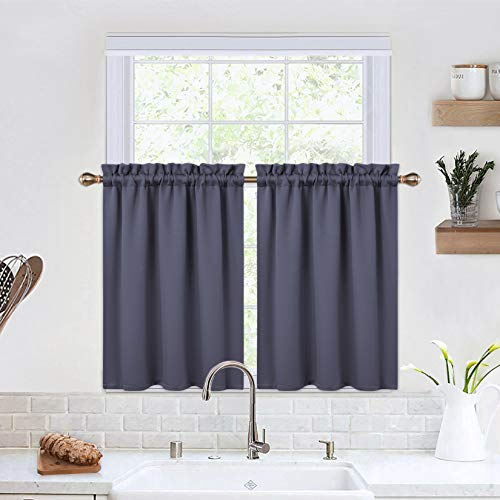 Blackout Kitchen Curtains 30 Inch Long Thermal Insulated Short Curtains for Small Window Cafe Bathroom Basement (Grey, 26 x 30 Inches, Set of 2)