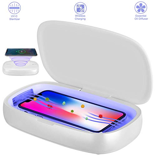 Rdfmy Smart Phone Uv Sanitizer, 10W Wireless Charging Charger Station Compatible, Uv Cell Phone Sterilizer for iOS Android Mobile Phone