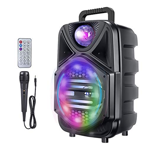 8 Inch Portable Karaoke Machine, Rechargeable Bluetooth Singing PA Speaker System with Wired Microphone and Disco Lights for Kids/Adults/Indoor Outdoor Party/Speech