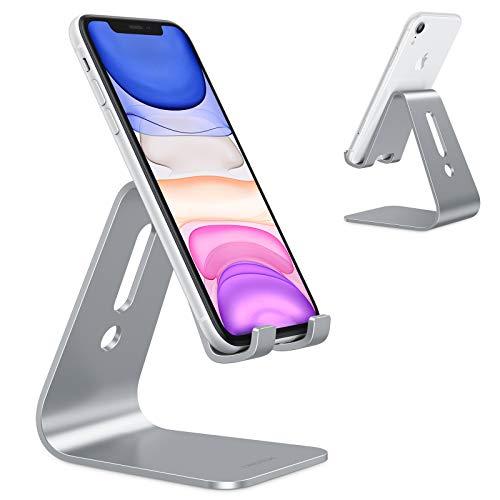 OMOTON Handy Ständer, Aluminium Handy Halter für Video/Büro, Tisch Handy Halterung kompatibel mit iPhone 12/12 pro/11 Pro/Xs Max/Xr/SE/8/7/6, alle 3.5-11 Zoll Android-Smartphones und Switch, Grau