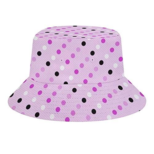 BONRI Sombreros de Pescador Transpirables con Parte Superior Plana, Color Rosa, Multicolor y Lunares Blancos (577), Sombrero de Pescador Unisex, de Verano