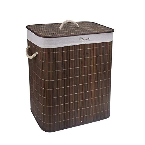 Vesgantti Wäschesammler 100L Bambus Faltbarer Wäschekorb Kleidersortierer Wäschetruhe mit Deckel & Herausnehmbaren waschbaren Linern (Braun, 100 L)