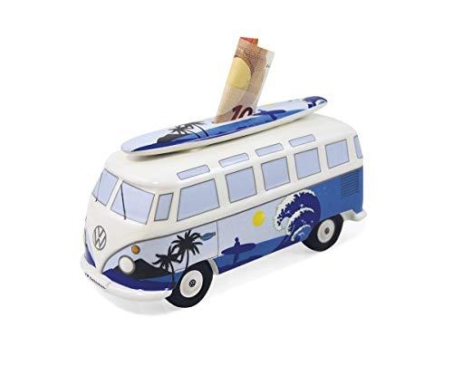 BRISA VW Collection - Volkswagen T1 Bulli Bus Spar-Büchse-Schwein-Dose mit Surfbrett, Geschenk-Idee/Fan-Souvenir/Retro-Vintage-Artikel (Keramik/Maßstab 1:18/Surf)