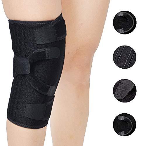 Knieorthese Unterstützung mit Scharnieren, Atmungsaktiv Offene Patella Stabilisator für Meniskus Tränen und Bandverletzungen, Einstellbar Knie Kompressions Ärmel für Laufen und Basketball,Rightleg