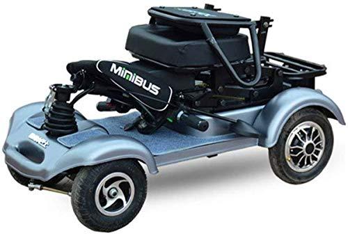Elektrorollstuhl Elektro-Scooter 4-Rad-Duty-Long Range Travel Scooter for Behinderte Elektroroller Erwachsene Elektro-Rollstuhl Bequemes und sicheres Reisen (Color : Silver)