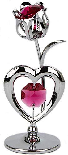 Rieser Interieur Kristall Glas Statue Rose mit Herz rot Chrome überzogen Made with Swarovski Elements