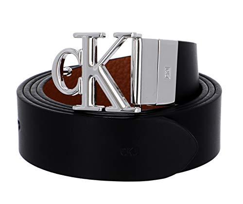 Calvin Klein Mono Hardware Round Rev Plq 30mm Cintura, Nero/Cuoio, 75 cm Donna