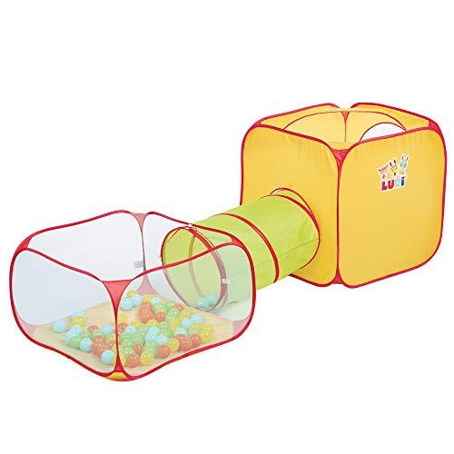LUDI Parque Infantil Túnel + Piscina de Bolas + Cubo | Estructura de Juego emergente | para Uso Interior y Exterior | Fijaciones de Piso 30 Bolas Incluidas | A Partir de 2 años