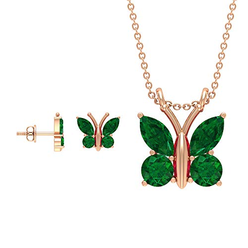 Rosec Jewels 18 quilates oro rosa marquesa redonda Green Emerald