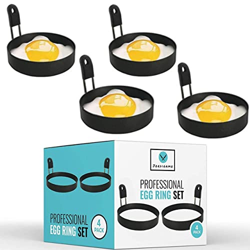 JORDIGAMO Professional Egg Ring Set For Frying Shaping Eggs - Round Egg Cooker Rings For Cooking - Stainless Steel Non Stick Mold Shaper Circles For Fried Egg McMuffin Sandwiches - Egg Maker Molds