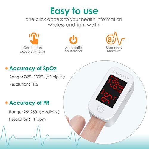 41tM2yfHvfL. SL500  - MeaMae Care Oxímetro de pulso Oxímetro de dedo para medir la saturación de oxígeno en la sangre frecuencia del pulso y PI pulsioximetro de dedo profesional con pantalla LED