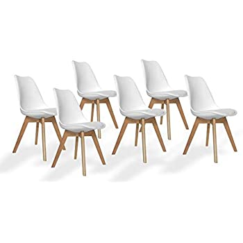 Ventamueblesonline Pack 6 SILLAS New Tower Wood Blancas Extra Quality: Amazon.es: Hogar