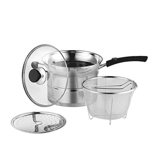 JXLBB Pot à soupe quatre pièces Pot quatre saisons Friteuse Fond pot à soupe Casserole à induction Cuisinière à induction Universal Family Multifonctionnel Pot