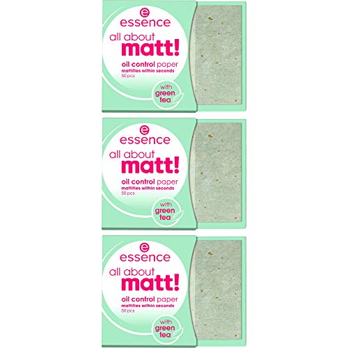 essence all about matt! oil control paper, transparent, glanzabsorbierend, Anti-Glanz, matt, Nanopartikel frei, ohne Parfüm, ölfrei, 3er Pack (3 x 50 Stück)