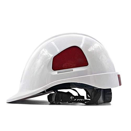 Sooiy Casco de Seguridad en la construcción, de 7 Colores, Unisex Seguro y ventilado Trabajo timón - Ojal, Fuente de alimentación, Arquitecto, Director de Ingeniería Cascos de Seguridad,Blanco 🔥