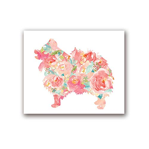 XIANGPEIFBH Canvas Poster Dog Portrait Watercolor Floral Wall Art Print Painting Pet Dogs Picture Baby Room Decoration artwork 40x60 cm/15.7' x 23.6' No Frame