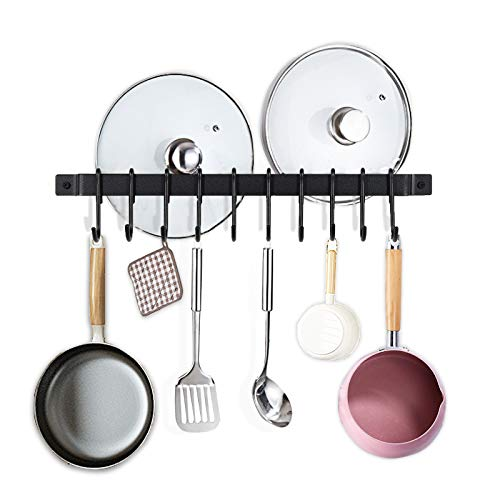 Jucoan 17 Inches Kitchen Rail Rack with 10 Removable Hooks Wall Mounted Utensil Hanging Rail Rustic Iron Pot Pan Lid Hanger Organizer Black