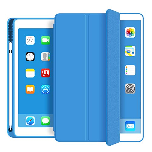 ZOYU iPad mini 5 case 2019 7.9 inch,Slim Lightweight Smart Cover with Pencil Holder Shockproof Soft TPU Back Cover Auto Sleep/Wake for iPad mini 5th Generation A2133 A2124 A2126 A2125 (Blue)
