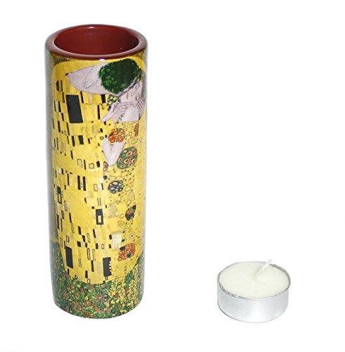 Photophore haut - Motif Klimt - Le baiser - Céramique, hauteur: 14,5cm