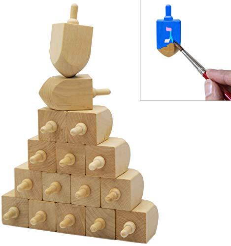 Hanukkah Wooden Dreidel, Design Your Own 3' Inch Wooden Chanukah Dreidel, Unfinished Natural Wood Dreidels (10-Pack)