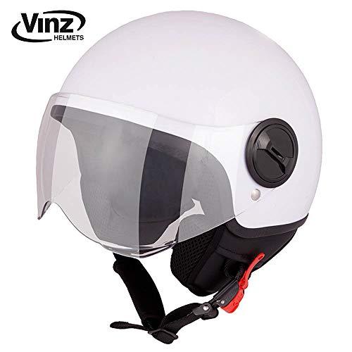 Vinz Rollerhelm Jethelm Basic   Jet Roller Motorrad Helm   in Gr. XS-XL   Helm mit Visier   ECE zertifiziert (M (57-58 cm), Weiß)