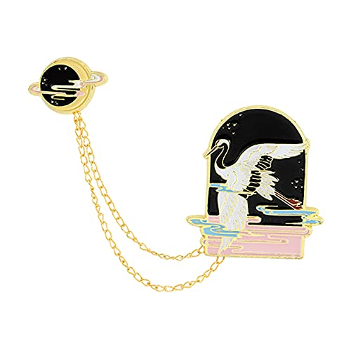 DYNWAVE Animal Fashion Chain Broche Distintivo Broche Corsage para Mulheres Chapéu Mochila Presente - Crane Black