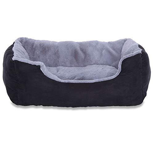 dibea Hundebett Hundekissen Hundekörbchen mit Wendekissen Größe S Farbe grau/schwarz