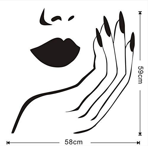 zwyluck Nail Salon Manicure Vinyl Muurtattoo Woonkamer schoonheid venster muur Art Sticker afneembaar behang decoratie thuis voor make-up slaapkamer 58 x 59 cm