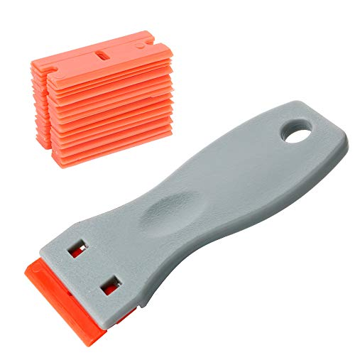 Gebildet Glass Scraper with 20pcs Plastic Safety Blades for Removing Vinyl Decals Stickers &Glue from Cars, Boats and Other Delicate Surfaces