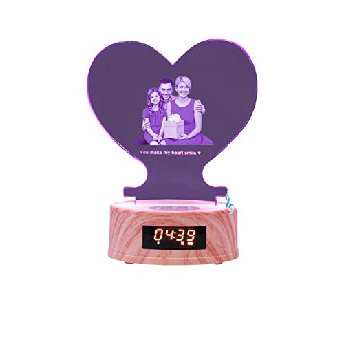 Luz de foto personalizada Lámpara de música Bluetooth Grabado láser Luz de noche Luz de cristal 3D Aniversario para mujeres(Corazón3 22 * 12.5 * 8.5cm/8.7 * 4.9 * 3.3IN)