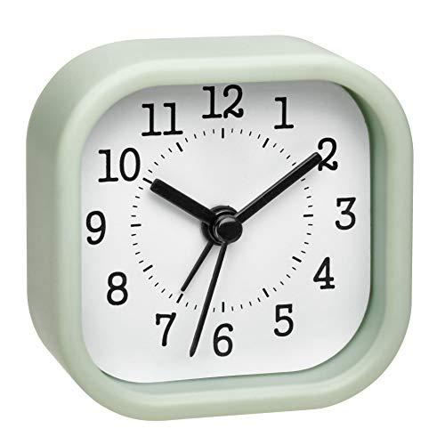 TFA Dostmann Analoger Mini Wecker, 60.1035.04, ideal als Reisewecker, mit Weck-Alarm, klein und handlich, pastellgrün, (L) 52 x (B) 23 x (H) 52 mm