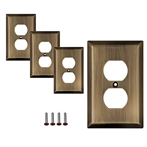 SleekLighting | Wall plates Decorative Classic Antique Brass | Electric Outlet and Switch Covers| Style: Style: 1 Gang Duplex (4 Pack)