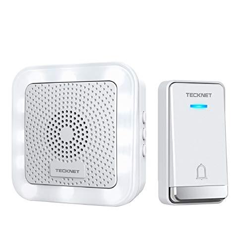 TECKNET Campanello Porta Wireless, Impermeabilità IP44 Kit Campanello Porta con Promemoria LED, Portata 150m/492ft con 32 Melodie, 5 Livelli di Volume per Casa Appartamento Ufficio Ospedale (Bianco)