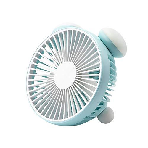 ROVNKD USB Mini Fan Ventilator Beweglicher Persönlicher Schreibtisch-Aufladbare Faltbare Neck Fan mit Lanyard(Himmelblau,)