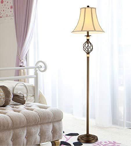 Raelf Rustikale Eisenstehlampe Leselampe Nordic Einfache Eisen-Kunst-Kaffee-Farben-Lampe Pole Stoff Lampe Stehlampe E27 europäische und amerikanische Schlafzimmer Beleuchtung Nachtleselampe am Bett Na