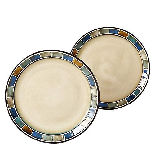 Juego de vajilla fina, juegos de vajilla retro, juego de cena americano, juego de platos de proceso de glaseado de reacción, platos, cuencos y tazas de gres, apto para horno y lavavajillas, para el ho