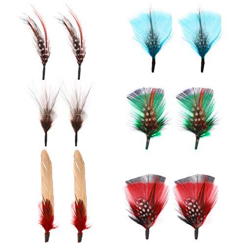 MWOOT 12 Piezas Decoración de Sombrero Plumas, Pluma para Sombreros de Fieltro y Decoración de Sombreros, Accesorios Plumas Arte para Pendientes de Bricolaje