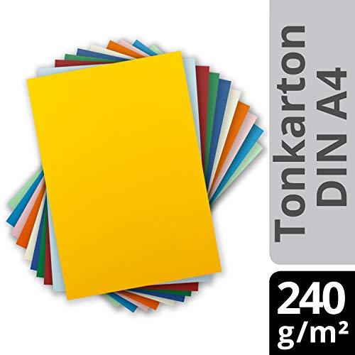 Glüxx Agent 100 Blatt Tonkarton DIN A4 - Bunt 10 Farben Hell - 240 g/m² Dicker Bastelkarton - 21,0 x 29,7 cm Pappe zum basteln für Fotoalbum Menükarte Bedruckbar DIY kreativ Sein