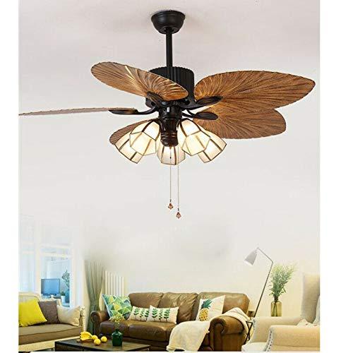 Ventilador de techo retráctil con luz y mando a distancia, iluminación de hojas de palma, 52 pulgadas, 3 velocidades, 220 V, silencioso