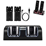 Wii Chargers for Nintenndo Wii Remote Controller, Wii Charger Dock Station with 2 Rechargeable Batteries and USB Charging Cord, Black
