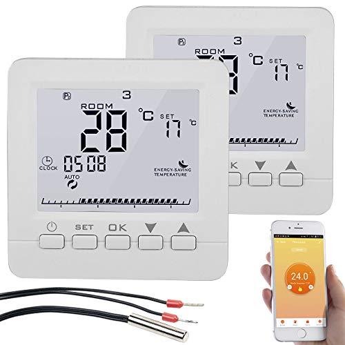 revolt WLAN Raumthermostat: 2er-Set WLAN-Thermostate für Fußbodenheizung, für Siri, Alexa & GA (Funk-Thermostat)