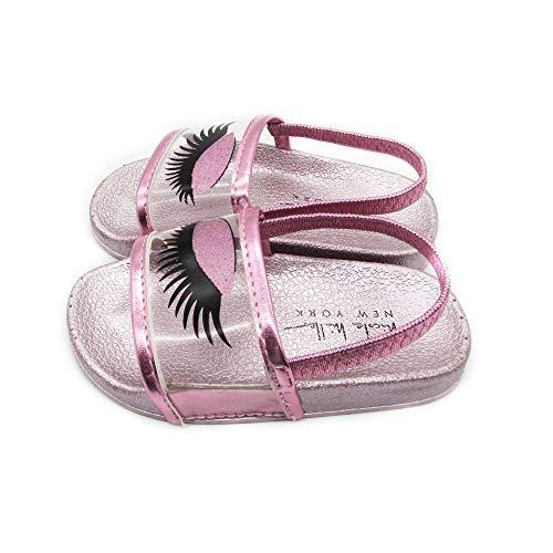 nicole Miller New York Toddler and Little Girls Designer Slide Sandals Light Pink, 12-18 Months Infant