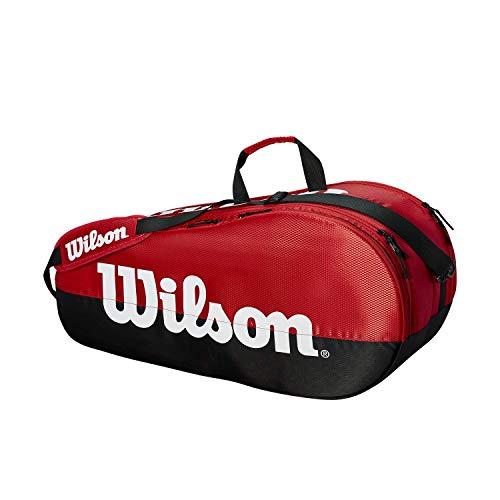 Wilson Bolsa para raquetas de tenis, Team, 2 compartimentos, Hasta 6 raquetas, Rojo/negro/blanco, WRZ857909