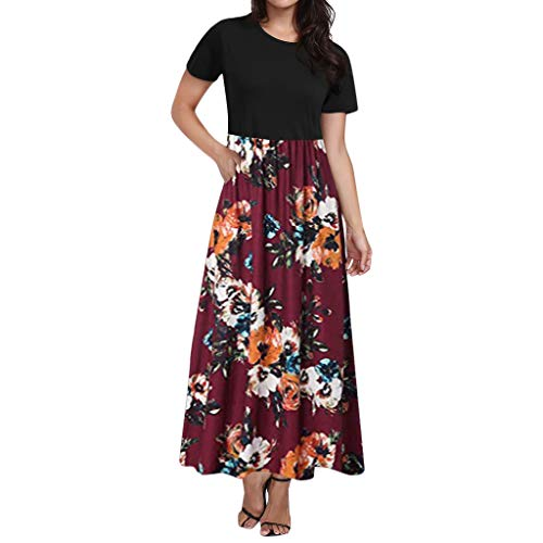 Auifor vrouwen casual mouw O-aanzet print maxi container lange jurk