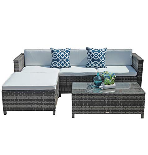 Super Patio Outdoor Patio Furniture Set, 5pc PE Wicker Rattan Sectional Furniture Set with Cream White Seat and Back Cushions, Steel Frame, Blue Throw Pillows, Gray