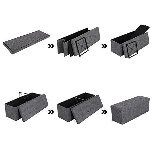 Songmics Stizbank Truhen Hocker 3-Sitzer mit Stauraum belastbar bis 300 kg leinen dunkelgrau 110 x 38 x 38 cm LSF77K - 7