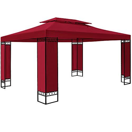 Deuba Pavillon Elda 3x4m Seitenwände Metall Gestell Eckig 12m² Festzelt Partyzelt Gartenlaube Gartenzelt Gartenpavillon Rot