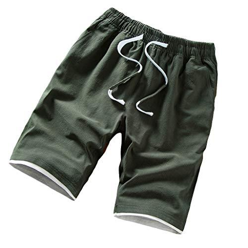Shorts pour Hommes Décontractée Svelte en Forme Grande Taille Short Lin Coton Bouche de Pied Large Confortable Plage Short